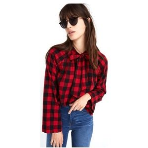 Madewell Flannel Tie-Front Shirt in Buffalo Check
